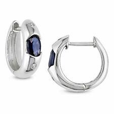 1.50 Ct Oval Cut Sapphire & Diamond Hoop Huggie Earrings 14k White Gold Over