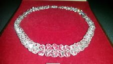 VINTAGE SINGLE STRAND FACETED GLASS CRYSTAL CHOKER NECKLACE WITH ORNATE CLASP.