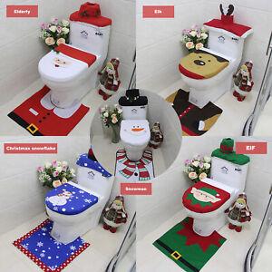 3 PCS Set Christmas Bathroom Decoration Toilet Lid Tank Cover Mat Santa Decor