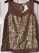 INA Sequined Mocha Dressy Tank Top Size Medium NWT