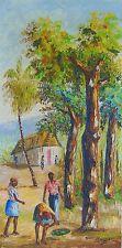 "Haitian Painting by Master David Rouzier 8"" X 16"" Oil Canvas Haiti Art Landscape"