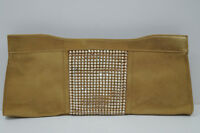 GINA LONDON Gold Metallic Soft Leather Swarovski Crystal Evening Clutch Bag