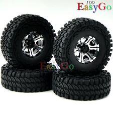 4pcs RC 1.9'' Alloy Beadlock Rims Wheel & 115mm 1/10 Soft Tire for Crawler Truck