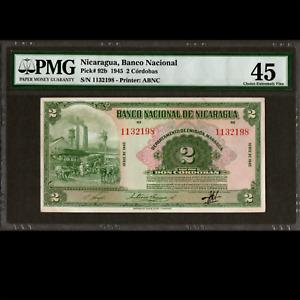 Banco Nacional de Nicaragua 2 Cordobas 1945 PMG 45 Choice Extremely Fine P-92b