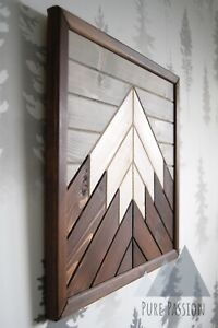 Mountain Wooden Wall Art White Peak - Single, Dark Oak