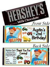 12 Blippi Birthday Party Hershey Candy Bar Wrappers