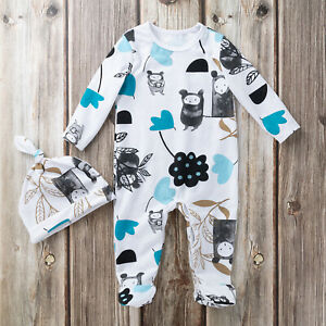 Newborn Baby Boys Girls Long Sleeve Jumpsuit Bodysuit Romper Hat Outfits Clothes