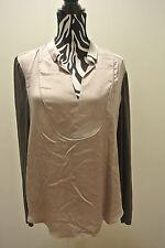 New/NO TAG.Lady's tahari pale oak/cask color collar split neck long sleeve top;L