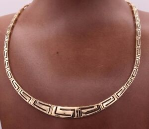 """17"""" Graduated Cut Out Greek Key All Shiny Necklace Real 14K Yellow Gold 16.35gr"""