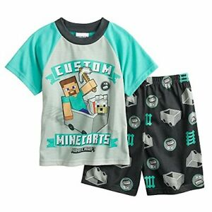Minecraft Boy's Size 6 Steve and Wolf Minecart Pajama Shorts Set