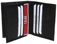 Black RFID Blocking Genuine Men's Leather Credit Card Center Flap Wallet