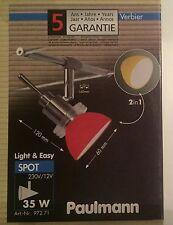 2 pièces paulmann 972.71 spot verbier Light & Easy rouge 120mm 230v 12v gu4 35w NEUF