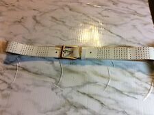 Calvin Klein Women's Belt White Leather Dots Solid Chrome Buckle Size 32 Casual