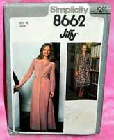Uncut Simplicity Misses Sz 16 Long Sleeve Jiffy Dress in 2 Lengths Pattern 8662