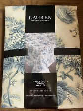 """Ralph Lauren Tablecloth French Toile Floral Blue & White Size 60""""x84"""""""