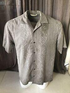 Tommy Bahama Mens M Silk Hawaiian Aloha Shirt Embroidered Floral Brown