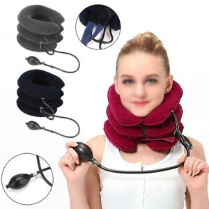 Air Inflatable Pillow Cervical Neck Head Pain Traction Support Brace Device UK
