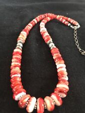"Native American Navajo Red Spiny Oyster  Sterling Silver Necklace 18"" Graduated"