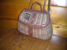 Vintage Bamboo Fishing Creel with Shoulder Strap