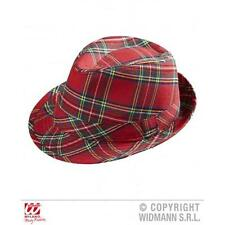 Unisex Red Scottish Tartan Fedora Hat Cap Fashion Headwear Fancy Dress