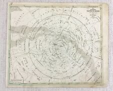 1843 Antique Map Solar System Astronomy Star Chart Hand Coloured Engraving