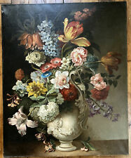 Tableau Romantisme Bouquet de Fleurs Goût Ecole Flamande XVII Huile Initiales CG