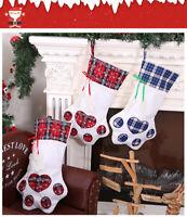 Pet Christmas Stocking Dog Paw Plaid Gift Bag Animal X-mas Stocking Candy Bags