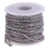 1 Roll Flat Round Stainless Steel Cable Chain DIY Craft Necklace Making