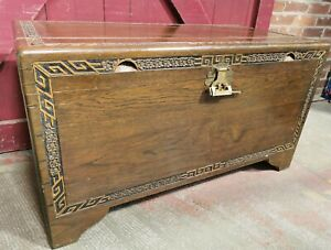Large Vintage Carved Chinese Camphor Wood Chest / Trunk w Lock & Key(Hospiscare)