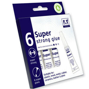 6 Pack Bloc Super Glue 3g Extra Strong Metal, Wood, Leather & Plastic Glue UK ST