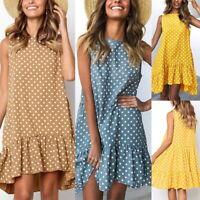 Damen Kleid Sommer Minikleid ärmellose Strand Frauen Wellenpunkt Shirtkleid P/D