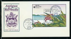 Antigua & Barbuda Scott #1294 FIRST DAY COVER Orchids Flowers S/S EXPO '90 $$