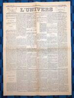 La Une Du Journal L'Univers 26 Mai 1873 Élection Du Maréchal De Mac-Mahon