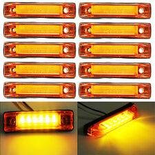 10x 6 LED Truck Lorries Bus Clearance Side Marker Indicators Light Lamp Amber