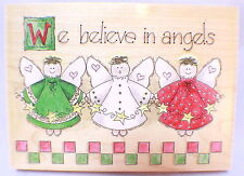 Stamps Happen Wooden Rubber Stamp 80176  We Believe In Angels Holiday