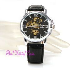 Automatic Mechanical Skeleton Steampunk Silver Black Leather Wind-Up Wrist Watch
