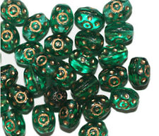 Teal Gilded Oval Czech Pressed Glass Beads 10mm (pack of 30)