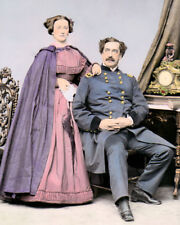 """MAJOR GENERAL ABNER DOUBLEDAY & MARY CIVIL WAR 8x10"""" HAND COLOR TINTED PHOTO"""