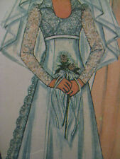 Vintage McCalls 3770 HIGH WAIST LACE TRAIN WEDDING DRESS Sewing Pattern GOWN