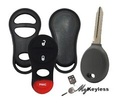 NEW CHRYSLER JEEP REPLACEMENT REMOTE CASE SHELL & UNCUT TRANSPONDER KEY