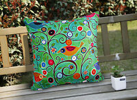Decorative Velvet Pillow Cushion Cover Abstract Birds Original by Karla Gerard