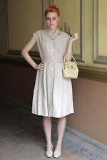 Damen Leinen Kleid linen dress beige natur light 50er True VINTAGE 50´s women