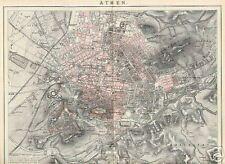 ATHEN Attika Akropolis original KARTE Stadtplan um 1898 Museion Antike Stätten
