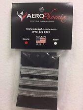 AeroPhoenix AIRLINE 1st. OFFICER EPAULET SLIDERS 3 BARS SILVER NYLON on  BLACK