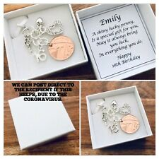 LUCKY PENNY charm, 16th BIRTHDAY, 2004 birth year coin, PERSONALISED gift box