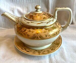 Royal Crown Derby 19th century salmon peach cream gilt teapot/stand 9.75 inches