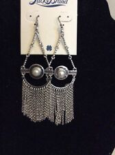 Lucky Brand  Silver-Tone Pearl  Teardrop Stone Chandelier Earrings $39 #108(2)