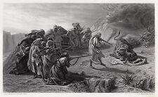 "Neat 1800s Charles De La Fosse Engraving ""Men Hunting a Lion"" FRAMED SIGNED COA"