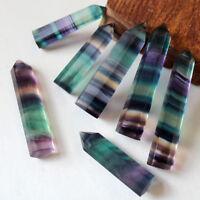 10Pcs/Lot Natural Colorful Fluorite Quartz Crystal Point Rock Stone Wand Healing