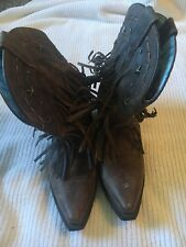 Dingo Fringe Brown Ankle Boots Size 6